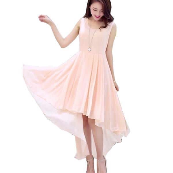 Korean Fashion Pink Color Long Bohemian Chiffon Women Dress WC-59 image