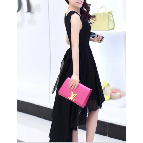 Summer Black Color Long Bohemian Chiffon Women Dress WC-59 image