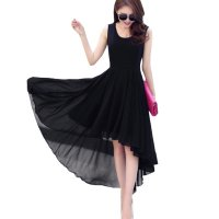 Korean Fashion Black Color Long Bohemian Chiffon Women Dress WC-59