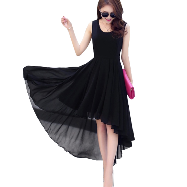 Korean Fashion Black Color Long Bohemian Chiffon Women Dress WC-59 image
