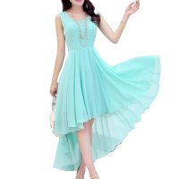 Korean Fashion Blue Color Long Bohemian Chiffon Women Dress WC-59