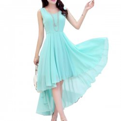 Summer Light Blue Color Long Bohemian Chiffon Women Dress WC-59
