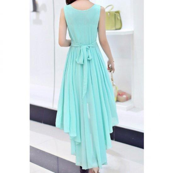 Summer Light Blue Color Long Bohemian Chiffon Women Dress WC-59 image