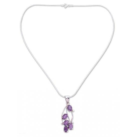 Wisteria Blossoms Amethyst and Sterling Silver Necklace Floral Jewelry ANDN-03