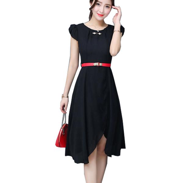Latest Fashion Black Color Long Chiffon Women Mini Dress WC-60 image