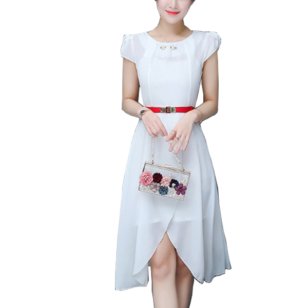 Latest Fashion White Color Long Chiffon Women Dress WC-60 image