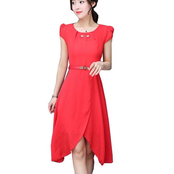 Latest Fashion Red Color Long Chiffon Women Dress WC-60 |images|Dresses