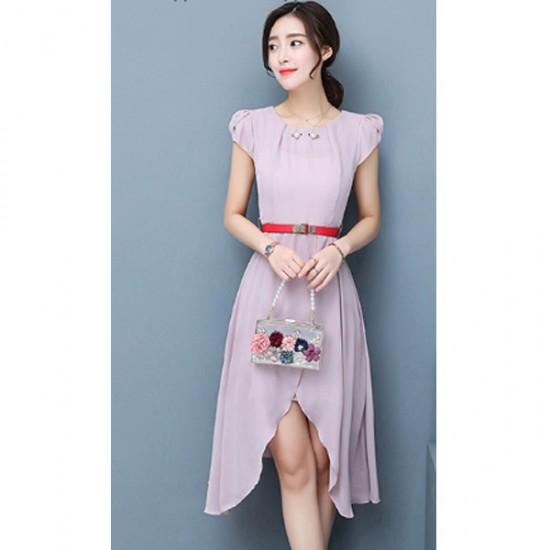 Latest Fashion Pink Color Long Chiffon Women Dress WC-60 image
