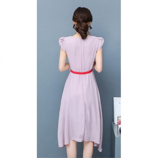Latest Fashion Pink Color Long Chiffon Women Dress WC-60