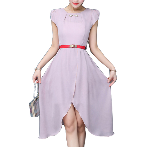 Latest Fashion Pink Color Long Chiffon Women Dress WC-60|images|Dresses