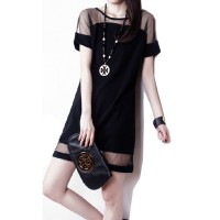 Korean Fashion Net Yarn Splicing Chiffon Short Sleeve Women Shirt WC-62