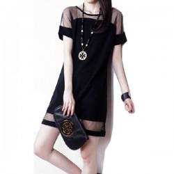 Korean Fashion Net Yarn Splicing Chiffon Short Sleeve Women Shirt WC-62