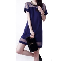 Korean Fashion Dark Blue Splicing Chiffon Short Sleeve Women Shirt WC-62