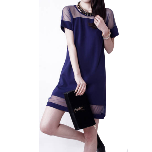 Korean Fashion Dark Blue Splicing Chiffon Short Sleeve Women Shirt WC-62|images|Dresses