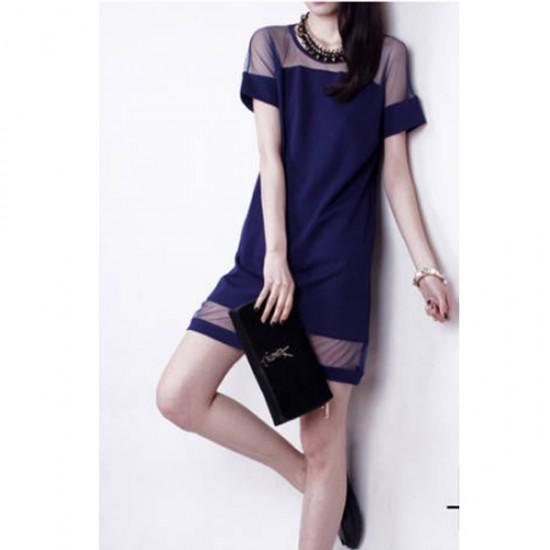 Korean Fashion Dark Blue Splicing Chiffon Short Sleeve Women Shirt WC-62 image