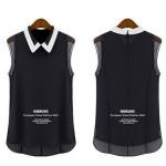 Korean Fashion Black Color Chiffon Sleeveless Women Shirt WC-63 image