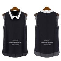Korean Fashion Black Color Chiffon Sleeveless Women Shirt WC-63