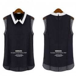Korean Fashion Black Color Chiffon Sleeveless Women Shirt WC-63