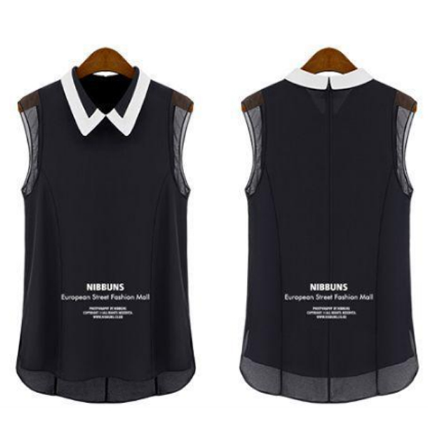 Korean Fashion Black Color Chiffon Sleeveless Women Shirt WC-63|images|Dresses