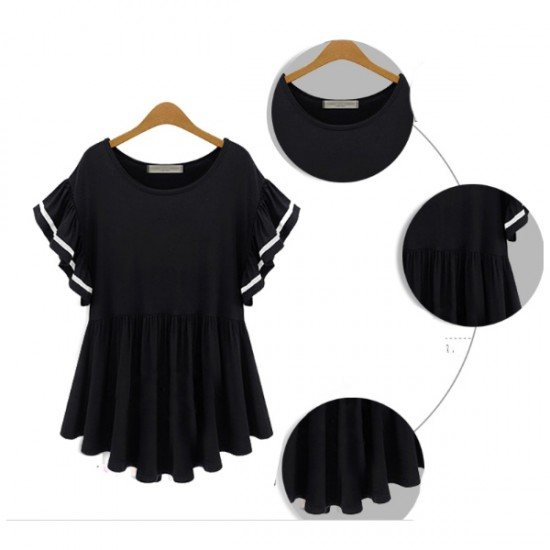 Korean And United States Fashion Black Color Half Sleeveds Women Shirt WC-64