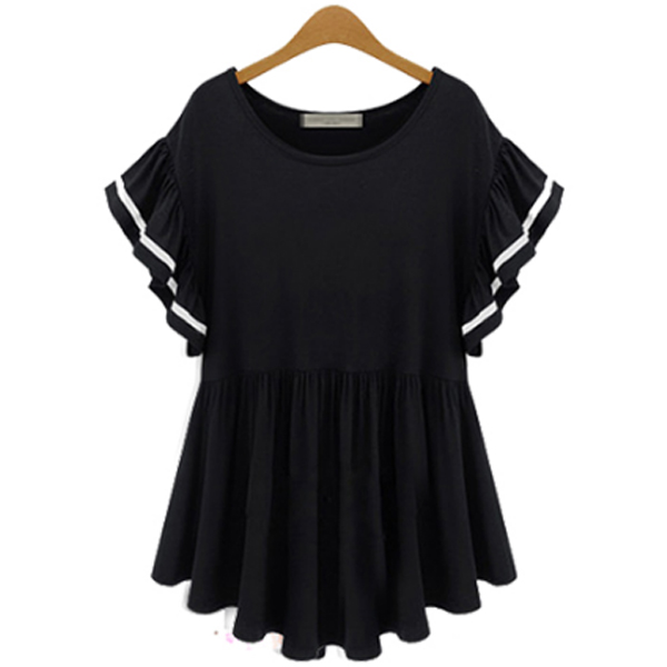 Korean And United States Fashion Black Color Half Sleeveds Women Shirt WC-64 image