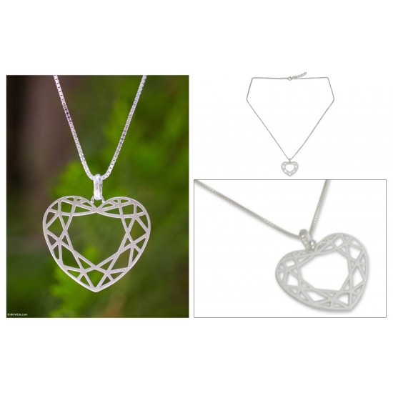 Web of Love Sterling silver heart necklace ANDN-02