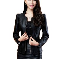 Womens Fashion Black Color Locomotive PU Leather Casual Jacket WJ-08BK