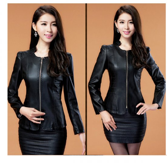 Womens Fashion Black Color Locomotive PU Leather Casual Jacket WJ-08BK image