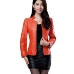 Womens Fashion Orange Color Locomotive PU Leather Casual Jacket WJ-08OR image