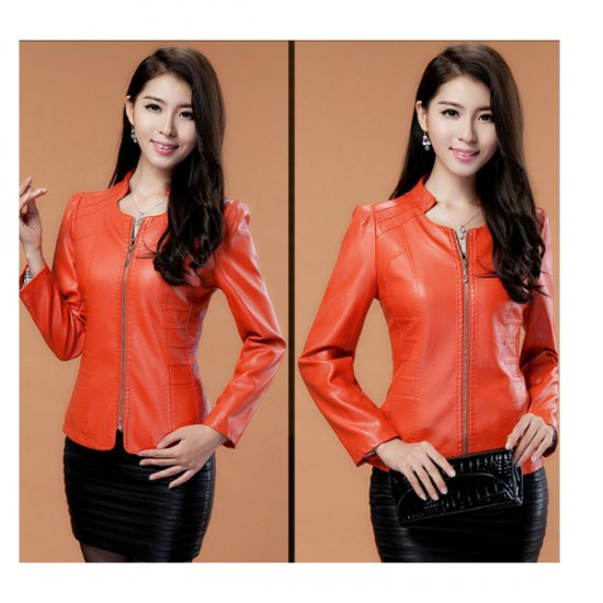 Womens Fashion Orange Color Locomotive PU Leather Casual Jacket WJ-08OR