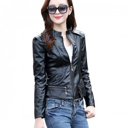 Korean Fashion Black Color Leather Womens Casual Jacket WC-66