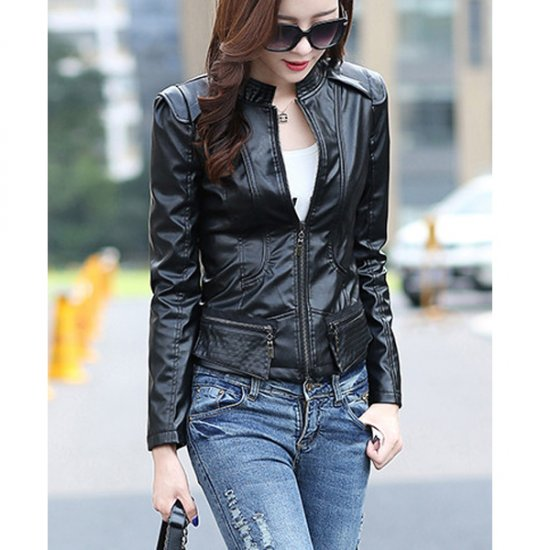 Latest Trending BodyFit Black Color Leather Womens Casual Jacket Wj-07BK image