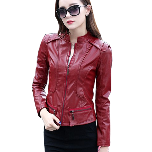 Latest Trending BodyFit Red Color Leather Womens Casual Jacket Wj-07RD image