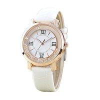 Korean Fashion White Color Ladies White Diamond Leather Watch W-01