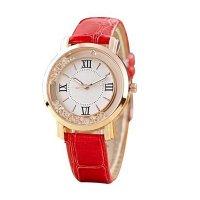 Korean Fashion Red Color Ladies White Diamond Leather Watch W-01
