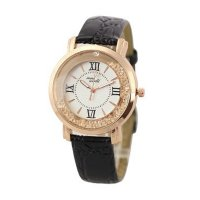 Korean Fashion Black Color Ladies White Diamond Leather Watch W-01