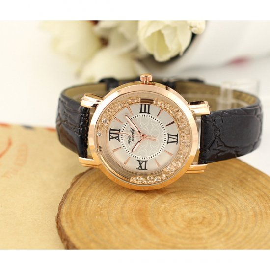 Korean Fashion Black Color Ladies White Diamond Leather Watch W-01 image
