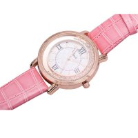 Korean Fashion Pink Color Ladies White Diamond Leather Watch W-01