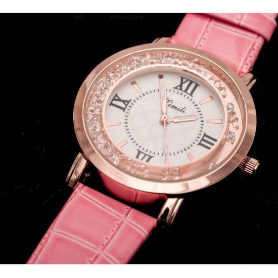 Korean Fashion Pink Color Ladies White Diamond Leather Watch W-01 image