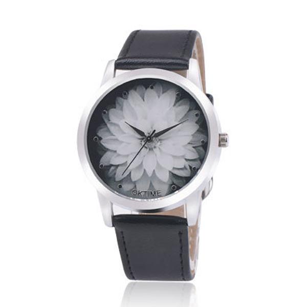 OKTIME Belt Lotus Fashion Black Color Ladies Leather Watch W-03| image