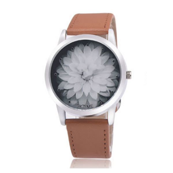 OKTIME Belt Lotus Fashion Brown Color Ladies Leather Watch W-03 image