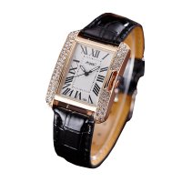 Korean Fashion Rectangular Black Color Ladies Leather Watch W-04