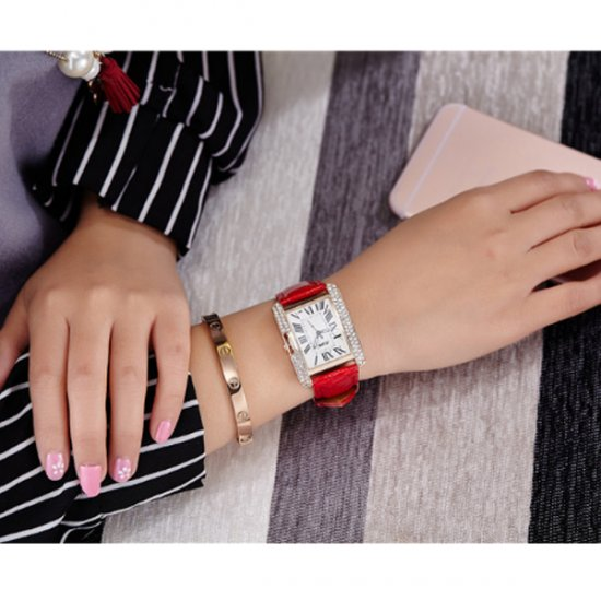 Korean Fashion Rectangular Red Color Ladies Leather Watch W-04 (Red) image