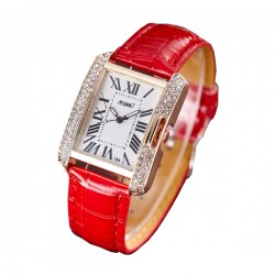 Korean Fashion Rectangular Red Color Ladies Leather Watch W-04 (Red)