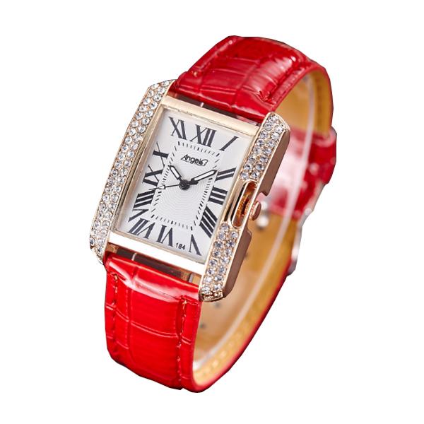 Korean Fashion Rectangular Fashion Red Color Ladies Leather Watch W-04| image