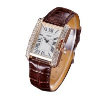 Korean Fashion Rectangular Brown Color Ladies Leather Watch W-04