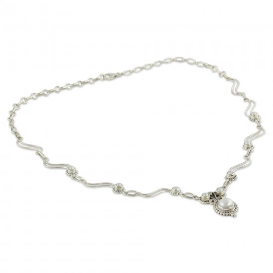 Angel Love Artisan Crafted Cultured Pearl and Silver Pendant Necklace ANDN-19