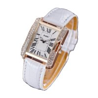 Korean Fashion Rectangular White Color Ladies Leather Watch W-04