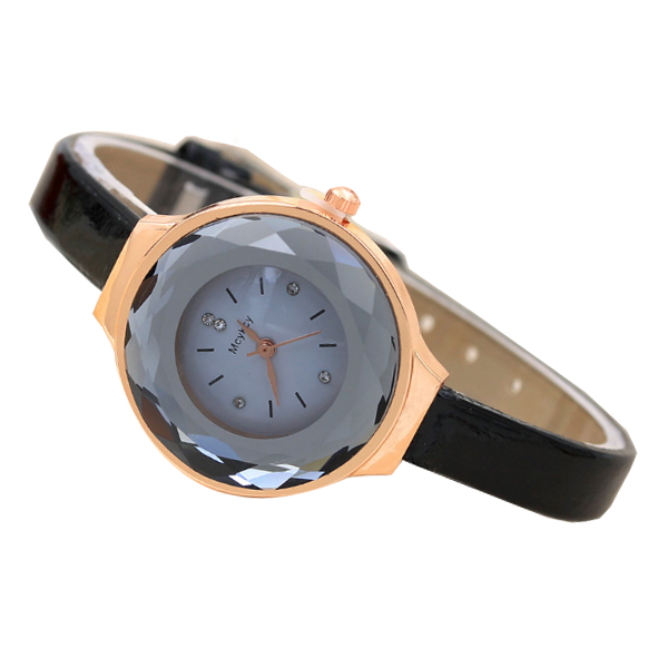 Crystal Glass Dial Fine European Fashion Black Color Ladies Leather Watch W-06 image