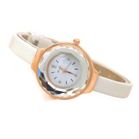 Crystal Glass Dial Fine European Fashion White Color Ladies Leather Watch W-06